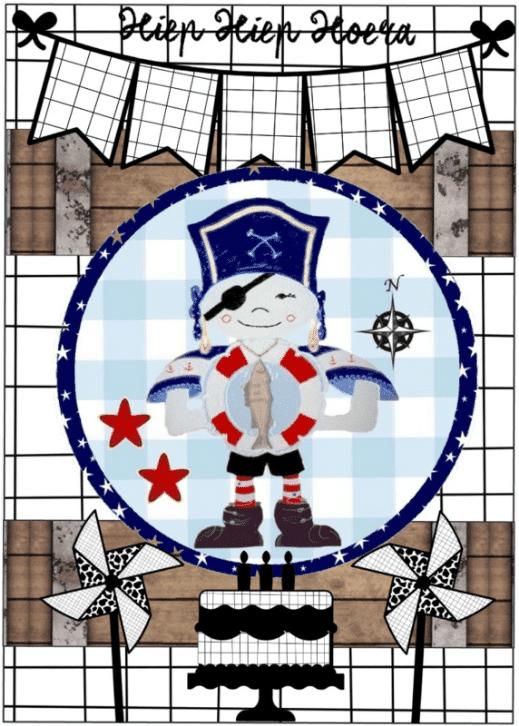 Kaart met afbeelding piraat en tekst ''Hiep hiep hoera '' A6 formaat 10 5 bij 14 8 (2)