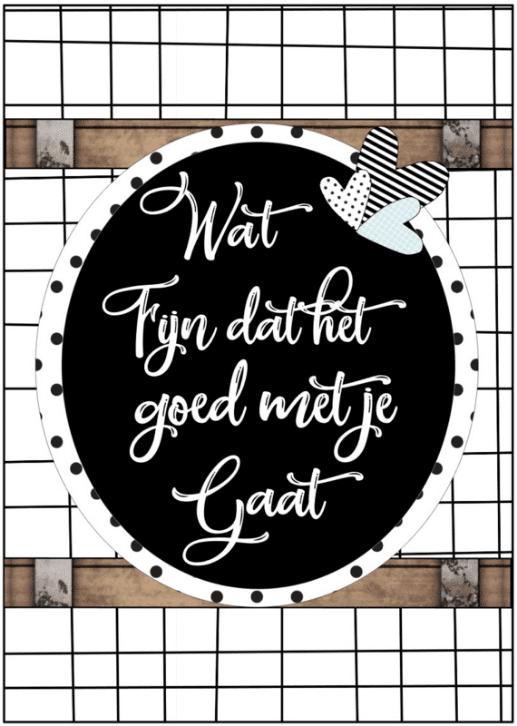 Kaart met tekst ''Wat fijn dat het goed met je gaat'' A6 formaat 10 5 bij 14 8