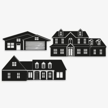 stormit raamfolie sticker 3 huizen